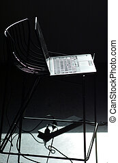 Laptop on a high chair Work from home concept copy space