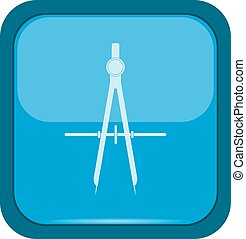 Protractor icon on a blue button, vector illustration