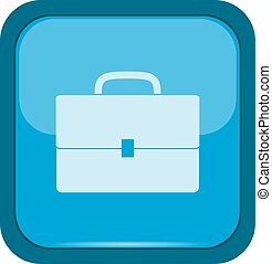 Briefcase icon on a blue button, vector illustration
