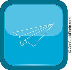 Błękitny, guzik, papier, samolot
