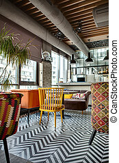 Restaurant with open kitchen - Nice hall in a loft style in...