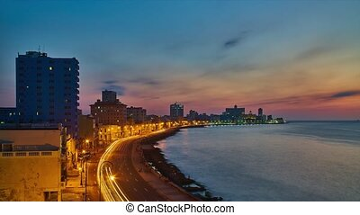 Havana malecon night,time lapse