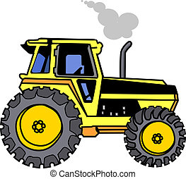 Yellow Tractor  -  Exhausting smoke on white back ground
