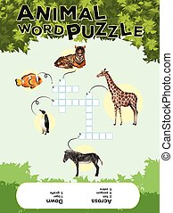 Game template for animal word puzzle with keys illustration