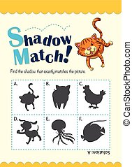 Matching game with many animals illustration