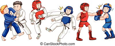 Different sports for martial arts illustration