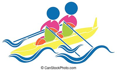 Sport icon design for kayaking illustration