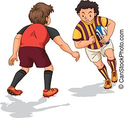 Two people doing rugby  illustration