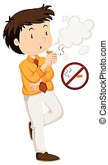 Man smoking and non-smoking sign illustration