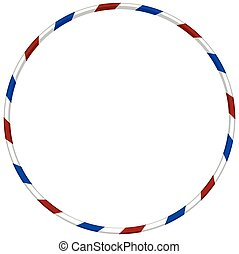 Hula hoop with blue and red striped illustration