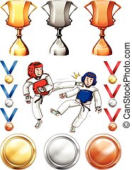 Taekwondo and many trophies and medals