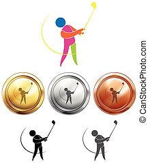 Golf player and three medals