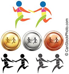 Sport medals with relay running illustration
