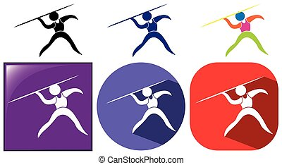Different icons design for pole vault illustration