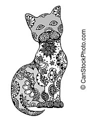 Hand drawn cat - Hand drawn doodle outline vector cat...