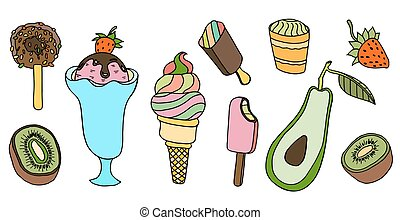 Collection of vector ice cream illustrations isolated on...