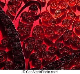 Ładny, czerwony, serca, Robiony, Od, kręcił, paper.,