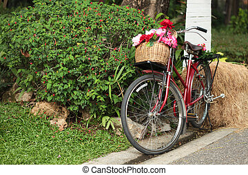 Red bicycle with a pad of flowers stands at the drain