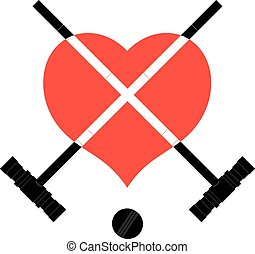 Black image hammers, ball and heart. Hammers and ball...