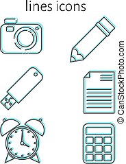 Linear icons Set of linear trend icons: camera, pencil,...