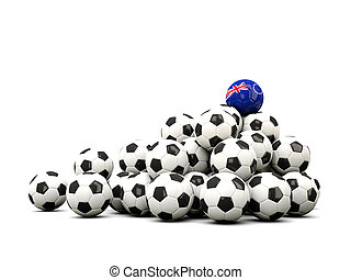Pile of soccer balls with flag of cook islands 3D...