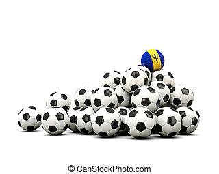 pila, de, futbol, pelotas, con, bandera, de, Barbados,