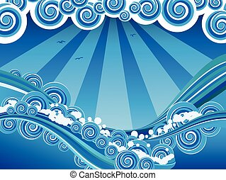 Cartoon Stormy Sea - Blue stylized sea or ocean with big...
