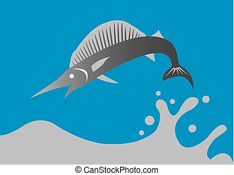 Swordfish jumping - Vector illustration of a big swordfish...