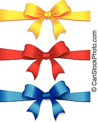 Three colored bows - Vector illustration of a three colored...