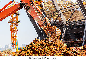 Close-up of a construction site excavator - Construction...