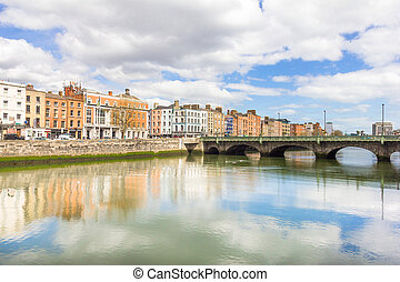 Liffey river bank in Dublin, Ireland