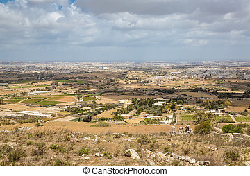 View of the Maltese countryside in area of Siggiewi.