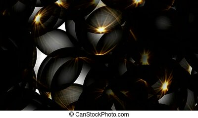 3d balls with golden light
