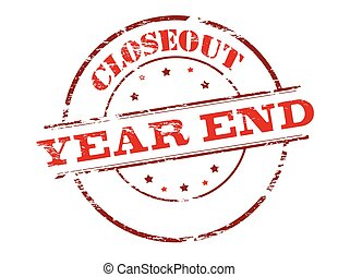 Closeout year end - Rubber stamp with text closeout year end...