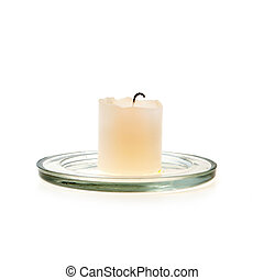 White wax candle on glass - White wax candle on a glass...