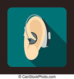 Hearing aid icon, flat style