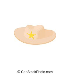 Cowboy hat with star icon, cartoon style
