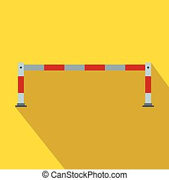 Barrier icon in flat style on a yellow background