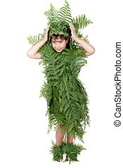 Plant girl on grass isolated - Plant girl isolated
