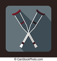 Crutches icon, flat style - Crutches icon in flat style with...