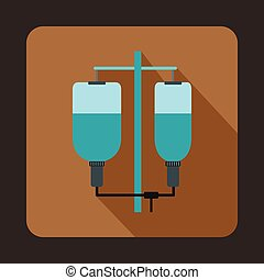 Intravenous infusion icon, flat style - Intravenous infusion...