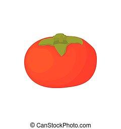 Ripe persimmon icon, cartoon style - Ripe persimmon icon in...