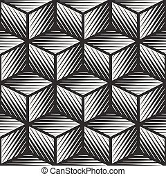 Vector Seamless Black And White Cube Shape Lines Engravement...