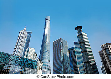 Skyscrapers in Shanghai, China - Shanghai city view, with...