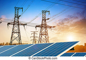 Solar panels and high-Tower - Solar Panel With High Voltage...