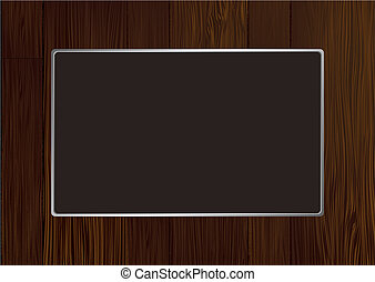 dark wood frame - Dark wooden frame with grain and silver...