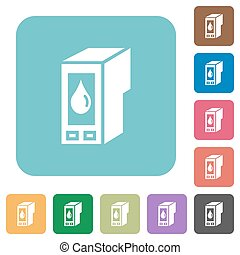 Flat ink cartridge icons on rounded square color backgrounds...