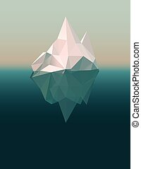Iceberg floating in the ocean, low poly eps10 vector