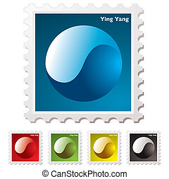 ying yang stamp - Collection of ying yang stamps with...