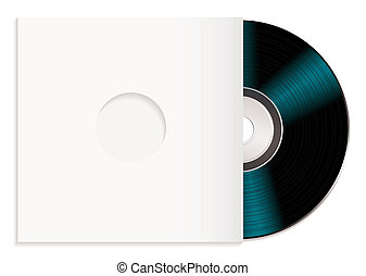 shiny cd and case - Black music record with white cover or...